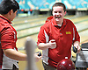Bobby Wright of Chaminade reacts after rolling a strike during the CHSAA boys' bowling team championship against St. John the Baptist at Farmingdale Lanes on Thursday, Feb. 4, 2016. He bowled a 659 series (three games) to lead Chaminade to victory.