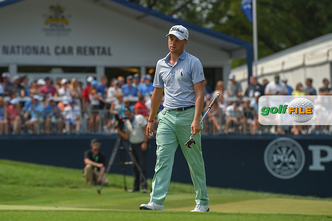 Justin Thomas (USA) barely misses his putt on 9 during 4th round of the 100th PGA Championship at Bellerive Country Club, St. Louis, Missouri. 8/12/2018.<br /> Picture: Golffile | Ken Murray<br /> <br /> All photo usage must carry mandatory copyright credit (© Golffile | Ken Murray)