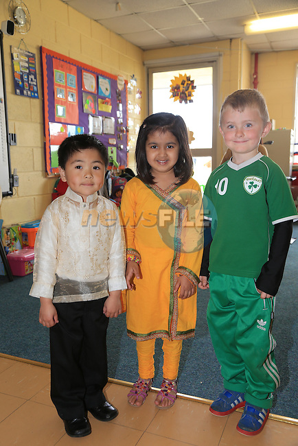 Jasper dela Rosa, Syeda Arsh Hassan and Sean Collins.students in St John's National School who took part in the Intercultural Assembly..Picture: Fran Caffrey / www.newsfile.ie ..