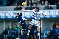 1st February 2020; Cappielow Park, Greenock, Inverclyde, Scotland; Scottish Championship Football, Greenock Morton versus Dundee Football Club; Kane Hemmings of Dundee competes in the air with Jack Baird of Greenock Morton