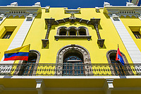 Architecture of old buildings in Old town Quito, Ecuador