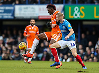 Blackpool's Armand Gnanduillet competing with Portsmouth's Jack Whatmough<br /> <br /> Photographer Andrew Kearns/CameraSport<br /> <br /> The EFL Sky Bet League One - Portsmouth v Blackpool - Saturday 12th January 2019 - Fratton Park - Portsmouth<br /> <br /> World Copyright © 2019 CameraSport. All rights reserved. 43 Linden Ave. Countesthorpe. Leicester. England. LE8 5PG - Tel: +44 (0) 116 277 4147 - admin@camerasport.com - www.camerasport.com