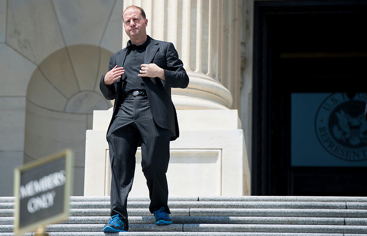 UNITED STATES - JULY 26: Rep. Jared Polis, D-Colo., walks down the House steps after the last vote before the August recess on Thursday, July 26, 2018. (Photo By Bill Clark/CQ Roll Call)