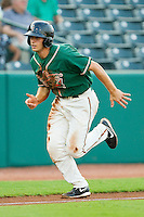 Austin Nola (16) of the Greensboro Grasshoppers takes off down the third base line against the Lakewood BlueClaws at NewBridge Bank Park on August 18, 2012 in Greensboro, North Carolina.  The Grasshoppers defeated the BlueClaws 9-4.  (Brian Westerholt/Four Seam Images)