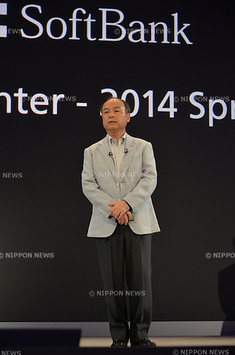 September 30, 2013, Tokyo, Japan - President Masayoshi Son of Japan's Softbank Corp. speaks before introducing a collection of new Android smartphones during a launch at a Tokyo hotel on Monday, September 30, 2013.  (Photo by Natsuki Sakai/AFLO)