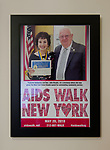Merrick, NY, USA. May 3, 2018. Special poster that AIDS WALK NEW YORK created for Francine Goldstein includes photo of her receiving NYS Senate Liberty Award from Sen. John E. Brooks.