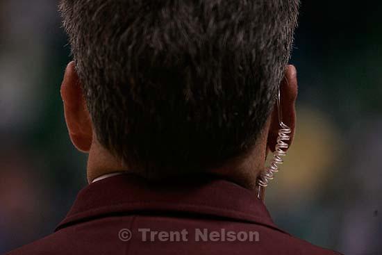 security guard with earpiece. Jazz vs. San Antonio Spurs.<br />