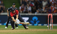 Sam Billings is bowled by Boult.<br /> New Zealand Black Caps v England.Tri-Series International Twenty20 cricket. Eden Park, Auckland, New Zealand. Sunday 18 February 2018. &copy; Copyright Photo: Andrew Cornaga / www.Photosport.nz