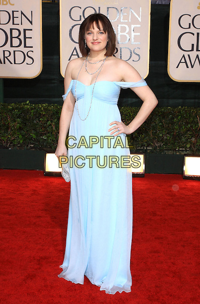ELISABETH MOSS.67th Golden Globe Awards held Beverly Hilton, Beverly Hills, California, USA..January 17th, 2010.globes full length blue off the shoulder strapless dress hand on hip elizabeth.CAP/ADM/KB.©Kevan Brooks/Admedia/Capital Pictures