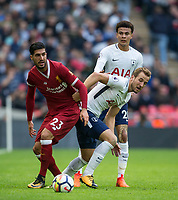Emre Can of Liverpool with Harry Kane & Dele Alli (centre) of Spurs during the Premier League match between Tottenham Hotspur and Liverpool at Wembley Stadium, London, England on 22 October 2017. Photo by Andy Rowland.