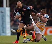 Exeter Chiefs' Olly Woodburn Wasps' Gaby Lovobalavu<br /> <br /> Photographer Bob Bradford/CameraSport<br /> <br /> Gallagher Premiership - Exeter Chiefs v Wasps - Sunday 14th April 2019 - Sandy Park - Exeter<br /> <br /> World Copyright © 2019 CameraSport. All rights reserved. 43 Linden Ave. Countesthorpe. Leicester. England. LE8 5PG - Tel: +44 (0) 116 277 4147 - admin@camerasport.com - www.camerasport.com