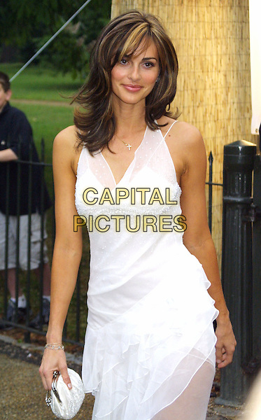 TASHA DE VASCONCELAS.Serpentine Gallery Summer Party 2003, Hyde Park.www.capitalpictures.com.sales@capitalpictures.com.© Capital Pictures.white floaty dress