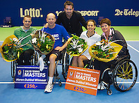 21-12-13,Netherlands, Rotterdam,  Topsportcentrum, Tennis Masters, Final doubles  wheelchair  winners men and women ltr: Maikel Scheffers and Ronald Vink  in the middel tournament director Raemon Sluiter and Marjolein Buis with Sharon Walraven.<br /> Photo: Henk Koster