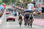 Maglia Bianca Miguel Angel Lopez (COL) Astana Pro Team, Tom Dumoulin (NED) Team Sunweb and Domenico Pozzovivo (ITA) Bahrain-Merida cross the finish line of Stage 15 of the 2018 Giro d'Italia, running 156km from Tolmezzo to Sappada, Italy. 20th May 2018.<br /> Picture: LaPresse/Gian Mattia D'Alberto | Cyclefile<br /> <br /> <br /> All photos usage must carry mandatory copyright credit (&copy; Cyclefile | LaPresse/Gian Mattia D'Alberto)