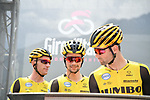 Primoz Roglic (SLO) and Team Jumbo-Visma at sign on before the start of Stage 14 of the 2019 Giro d'Italia, running 131km from Saint-Vincent to Courmayeur (Skyway Monte Bianco), Italy. 25th May 2019<br /> Picture: Gian Mattia D'Alberto/LaPresse | Cyclefile<br /> <br /> All photos usage must carry mandatory copyright credit (© Cyclefile | Gian Mattia D'Alberto/LaPresse)