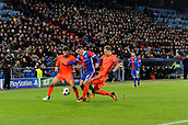 31st October 2017, St Jakob-Park, Basel, Switzerland; UEFA Champions League, FC Basel versus CSKA Moscow;  Georgi Schennikov and Bibras Natkho of CSKA Moscow challenge Taulant Xhaka of FC Basel for the ball