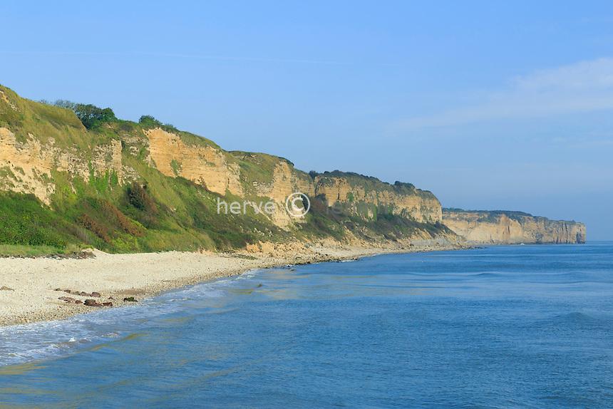 France, Calvados (14), Vierville-sur-Mer, la plage d'Omaha Beach et la Pointe du Hoc // France, Calvados, Vierville sur Mer, Omaha Beach and Pointe du Hoc