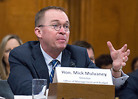 Mick Mulvaney, Director, Office of Management and Budget, testifies before the United States Senate Committee on the Budget on the President's fiscal year 2019 budget proposal on Capitol Hill in Washington, DC on Tuesday, February 13, 2018.<br /> Credit: Ron Sachs / CNP /MediaPunch /MediaPunch