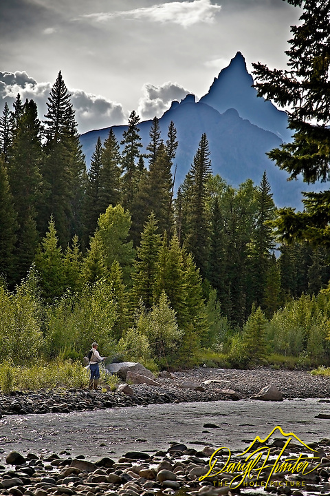 Fly-fisherman, Beartooth Peak, Clarks Fork River, Beartooth Mountains, Cooke City Montana