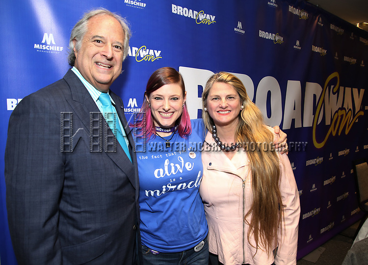 """Stewart F. Lane, Laura Heywood aka """"Broadway Girl"""" and Bonnie Comley During the BroadwayCON 2020 First Look at the New York Hilton Midtown Hotel on January 24, 2020 in New York City."""
