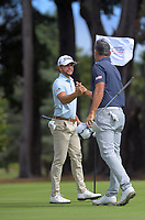 Luke Toomey and Michael Hendry. Day one of the Jennian Homes Charles Tour / Brian Green Property Group New Zealand Super 6's at Manawatu Golf Club in Palmerston North, New Zealand on Thursday, 5 March 2020. Photo: Dave Lintott / lintottphoto.co.nz