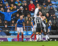 Gillingham  players mob Alex Lacey of Gillingham after scoring the second goal during Portsmouth vs Gillingham, Sky Bet EFL League 1 Football at Fratton Park on 6th October 2018