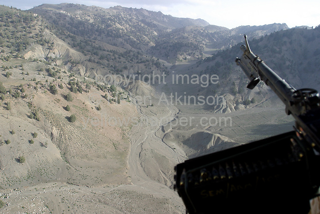 Chinook flies over Afghanistan - picture from rear of Chinook...PICTURE: HELEN ATKINSON..REPORTER: WAYNE FRANCIS