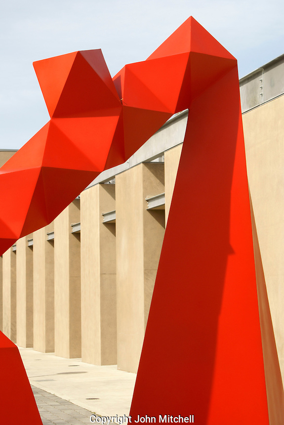 Abstract metal sculpture in front of The Lightcatcher building, Whatcom County Museum,  Bellingham, Washington, USA...
