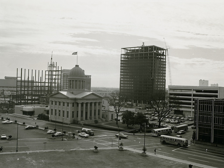 1969 November 28..Redevelopment...Downtown South (R-9)..Parking lot behind JC Penney; UNB garage under construction.Macarthur Memorial.Looking Southeast..Millard Arnold.NEG#.NRHA#..