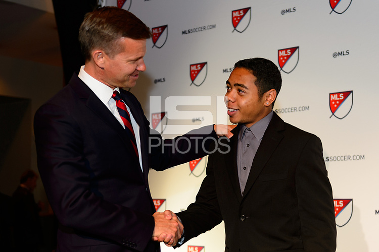 Philadelphia, PA - Friday January 19, 2018: Jesse Marsch, Niko De Vera during the 2018 MLS SuperDraft at the Pennsylvania Convention Center.