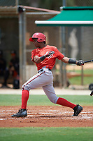 GCL Nationals Edwin Ventura (15) at bat during the second game of a doubleheader against the GCL Marlins on July 23, 2017 at Roger Dean Stadium Complex in Jupiter, Florida.  GCL Nationals defeated the GCL Marlins 1-0.  (Mike Janes/Four Seam Images)