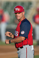 Hagerstown Suns manager Patrick Anderson (22) coaches third base during the game against the Kannapolis Intimidators at CMC-Northeast Stadium on June 16, 2015 in Kannapolis, North Carolina.  The Suns defeated the Intimidators 8-4.  (Brian Westerholt/Four Seam Images)