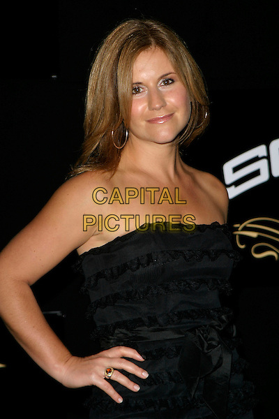 HARRIETT SCOTT.Sound Bar, Restaurant & Nightclub - VIP launch party, London, UK..September 28th, 2006.Ref: AH.half length black dress strapless hand on hip.www.capitalpictures.com.sales@capitalpictures.com.©Adam Houghton/Capital Pictures.