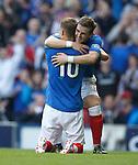 David Templeton hugs Dean Shiels after his goal