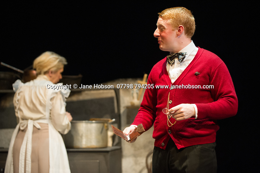 London, UK. 18.07.2014. Mountview Academy of Theatre Arts presents SATURDAY, SUNDAY, MONDAY by Eduardo de Filippo, the English adaptation by Keith Waterhouse & Willis Hall, directed by Michael Howcroft, at the Unicorn Theatre, as part of the Postgraduate Season 2014. Picture shows:  Michael Patrick (Rafaelle) and Carin Rose (Rosa). Photograph © Jane Hobson.