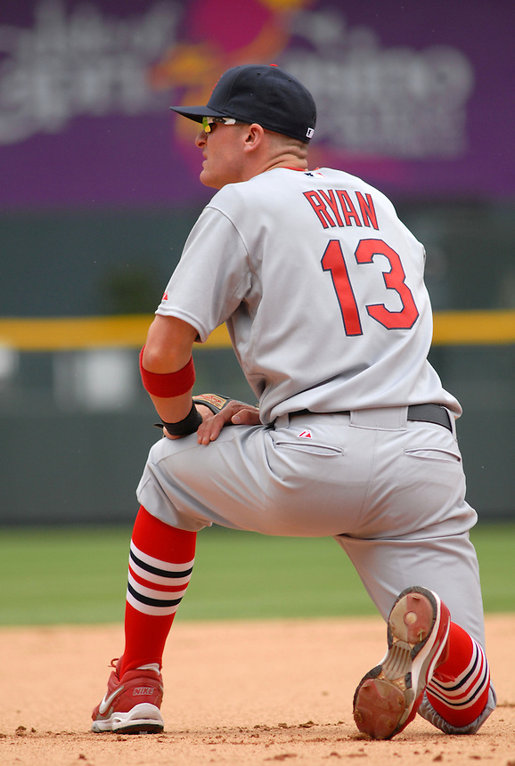 Cardinals 3rd baseman Brendan Ryan during a game against the Colorado Rockies at Coors Field in Denver, Colorado on May 6, 2008.