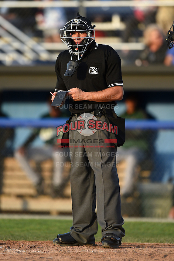 Umpire Christopher Stump during a game between the Jamestown Jammers and Batavia Muckdogs on July 25, 2014 at Dwyer Stadium in Batavia, New York.  Batavia defeated Jamestown 7-2.  (Mike Janes/Four Seam Images)