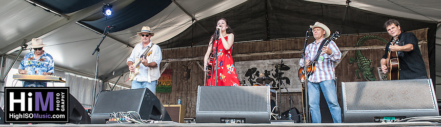 Sarah Jayde and the Sharecroppers perform at the 2014 Jazz and Heritage Festival in New Orleans, LA.