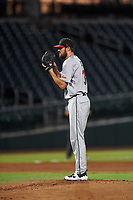 Scottsdale Scorpions starting pitcher Tristan Beck (36), of the San Francisco Giants organization, during an Arizona Fall League game against the Mesa Solar Sox on September 18, 2019 at Sloan Park in Mesa, Arizona. Scottsdale defeated Mesa 5-4. (Zachary Lucy/Four Seam Images)