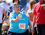 Shirley Cox, of Lassen, competes in the softball toss event at the Special Olympics Nevada 2013 Summer Games in Reno, Nev., on Saturday, June 1, 2013. <br /> Photo by Cathleen Allison