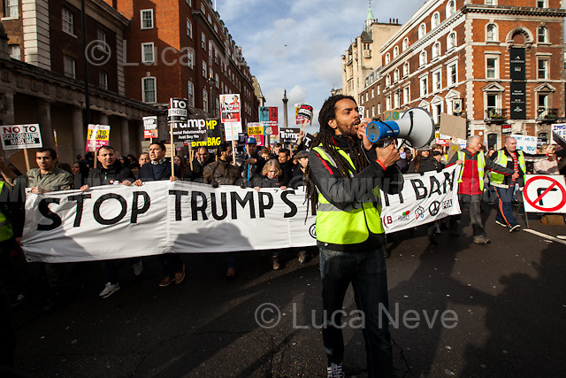 London, 04/02/2017. Today, tens of thousands of people marched from the US Embassy to Downing Street to protest against Donald Trump's (so-called) &quot;Muslim Ban&quot; (From Wikipedia: &lt;&lt;&quot;Protecting the Nation from Foreign Terrorist Entry into the United States&quot; is an executive order signed by U.S. President Donald Trump on January 27, 2017. The order, part of Trump's immigration-related campaign promises, suspends the U.S. Refugee Admissions Program - USRAP - for 120 days, after which the program will be conditionally resumed for individual countries. The executive order also suspends entry, regardless of valid non-diplomatic visa, by alien nationals of Iraq, Iran, Libya, Somalia, Sudan, Syria and Yemen for 90 days, after which an updated list of prohibited countries will be determined. Further, the order suspends entry of refugees from Syria indefinitely [...]&gt;&gt;. From the organisers Facebook event page: &lt;&lt;[&hellip;] Trump's ban on Muslims must be opposed by all who are against racism and support basic human rights. Theresa May's collusion with Trump must end [&hellip;]&gt;&gt;. The demonstration was organised by: Stop the War Coalition, Stand Up to Racism, Muslim Association of Britain, Muslim Engagement and Development, the Muslim Council of Britain, CND, Friends of Al-Aqsa, The People's Assembly Against Austerity and Help Refugees Worldwide.<br />