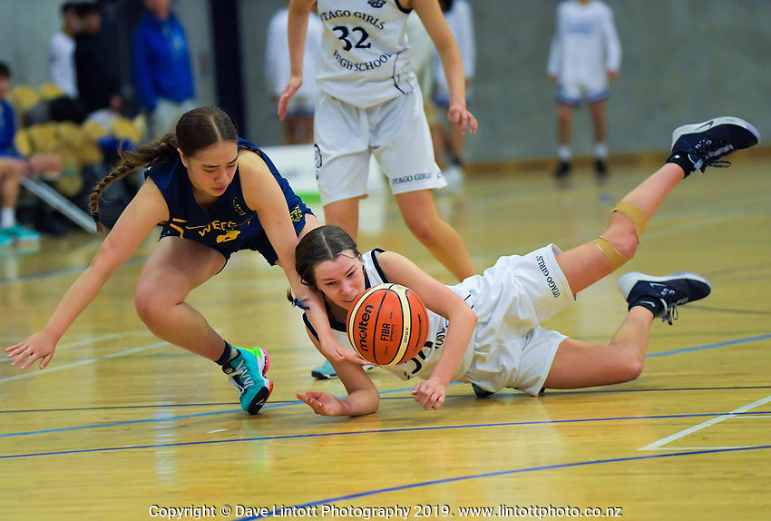 Action from the 2019 Schick AA Girls' Secondary Schools Basketball Premiership National Championship match between Wellington East Girls' College and Otago Girls' High School at the Central Energy Trust Arena in Palmerston North, New Zealand on Monday, 30 September 2019. Photo: Dave Lintott / lintottphoto.co.nz