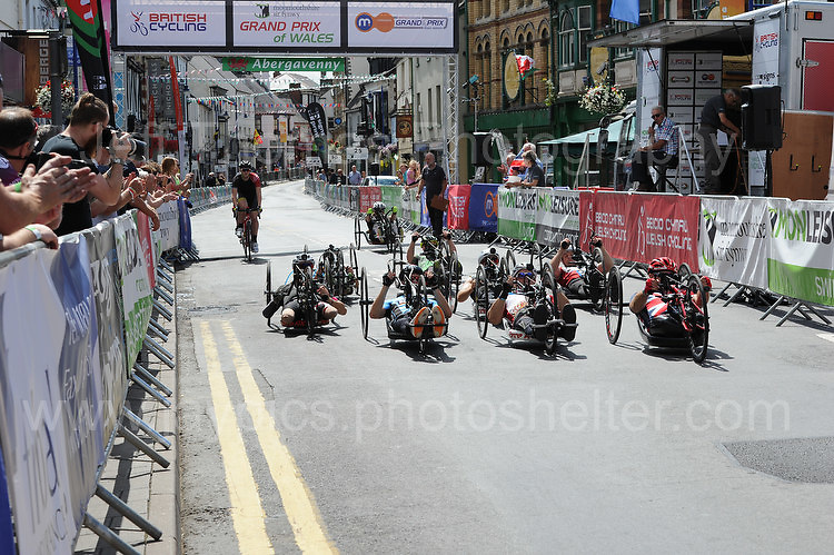 """The competitors prepare for the start during the Abergavenny Festival of Cycling """"Para Grand Prix of Wales"""" race on Sunday 17th 2016<br /> <br /> <br /> Jeff Thomas Photography -  www.jaypics.photoshelter.com - <br /> e-mail swansea1001@hotmail.co.uk -<br /> Mob: 07837 386244 -"""