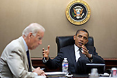 United States President Barack Obama and U.S. Vice President Joe Biden meet with National Security Staff in the Situation Room of the White House, June 20, 2011. .Mandatory Credit: Pete Souza - White House via CNP