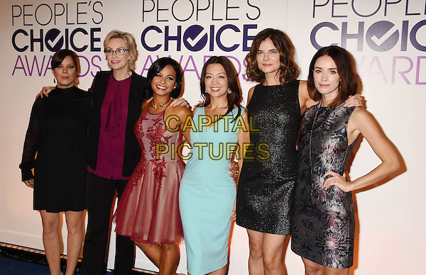 BEVERLY HILLS, CA - NOVEMBER 03: (L-R) Actresses Marcia Gay Harden, Jane Lynch, singer/actress Christina Milian, actresses Ming-Na Wen, Betsy Brandt and Abigail Spencer attend the People's Choice Awards 2016 - Nominations Press Conference at The Paley Center for Media on November 3, 2015 in Beverly Hills, California.<br /> CAP/ROT/TM<br /> &copy;TM/ROT/Capital Pictures