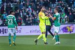 13.04.2019, Weser Stadion, Bremen, GER, 1.FBL, Werder Bremen vs SC Freiburg, <br /> <br /> DFL REGULATIONS PROHIBIT ANY USE OF PHOTOGRAPHS AS IMAGE SEQUENCES AND/OR QUASI-VIDEO.<br /> <br />  im Bild<br /> <br /> verletzungsbedingte Auswechslung <br /> Stefanos Kapino (Werder Bremen #27) f&uuml;r Jiri Pavlenka (Werder Bremen #01)<br /> Max Kruse (Werder Bremen #10)<br /> <br /> Foto &copy; nordphoto / Kokenge