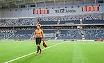 Stockholm 2014-07-31 Fotboll Europa League IF Brommapojkarna - Torino FC :  <br /> Brommapojkarnas Jacob Une Larsson ser nedst&auml;md ut n&auml;r han g&aring;r av planen i Tele2 Arena efter f&ouml;rlusten mot Torino<br /> (Foto: Kenta J&ouml;nsson) Nyckelord:  BP Brommapojkarna IFB Tele2 Arena Europa League Torino FC TFC Italien Itay inomhus interi&ouml;r interior depp besviken besvikelse sorg ledsen deppig nedst&auml;md uppgiven sad disappointment disappointed dejected