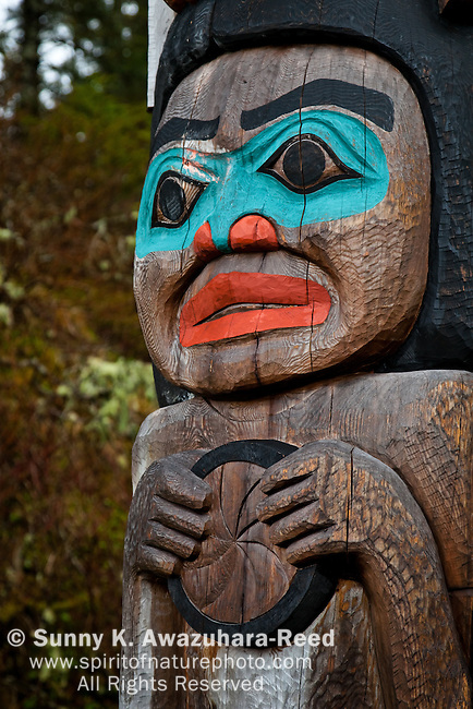 Close up of Japanese Photographer Michio Hoshino's memorial totem pole at Halibut Point State Recreation Site, Sitka, Southeast Alaska.