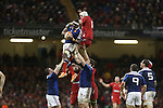French flanker Yannick Nyanga beats Wales lock Jake Ball to the line out ball.<br /> RBS 6 Nations 2014<br /> Wales v France<br /> Millennium Stadium<br /> 21.02.14<br /> <br /> &copy;Steve Pope-SPORTINGWALES