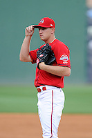 Pitcher Kuehl McEachern (36) of the Greenville Drive during a Media Day first workout of the season on Tuesday, April 7, 2015, at Fluor Field at the West End in Greenville, South Carolina. (Tom Priddy/Four Seam Images)